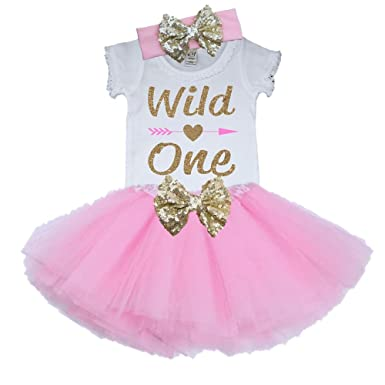 1st Birthday Tutu Outfits.Bella Fashion Kidz Girl Wild One First Birthday Tutu Outfit Pink And Gold 1st Birthday Set Skirt Crown