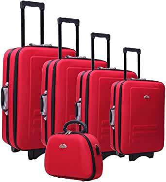 5pc Suitcase Trolley Travel Bag Luggage Set with Beauty Case - Red - Comfort Designed Handles, Extendable Luggage Handle with Inbuilt Compass and Combination Padlocks