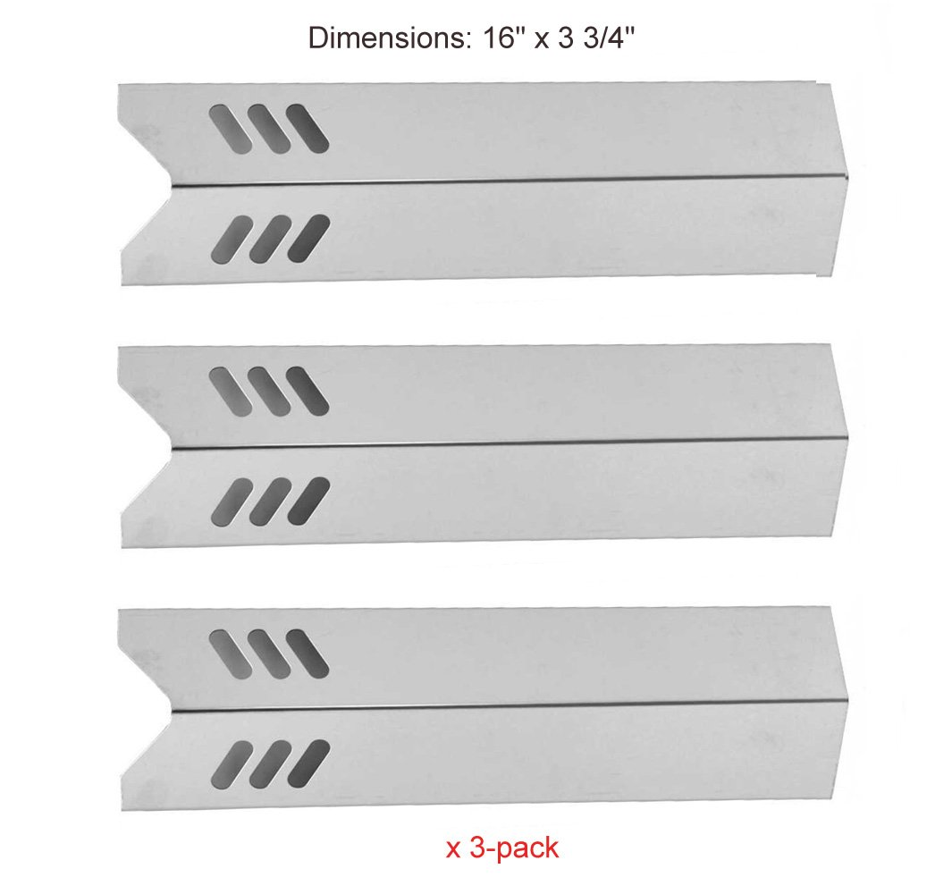 BBQ funland SH0201(3-pack) Better Homes & Gardens BH12-101-001-02, GBC1273W and Grill Chef BM2000, FL2000, GBC1088WB Stainless Steel Heat Plate Replacement