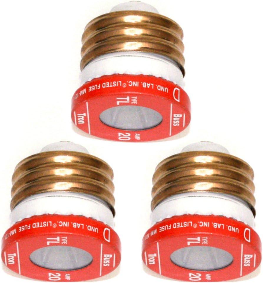 Bussmann TL-20PK4 20 Amp Time Delay 125V UL Listed 4-Pack Loaded Link Edison Base Plug Fuse