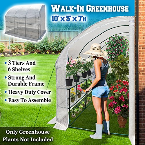BenefitUSA Large Walk-in Wall Greenhouse 10x5x7'H with 3 Tiers/6 Shelves Gardening (White)