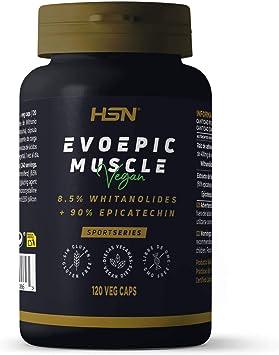 Evoepic Muscle de HSN | Suplemento para Ganar Masa Muscular | Suministro para 4 Meses | Ashwaganda + Epicatequina | Inhibidor de Miostatina | Vegano, ...
