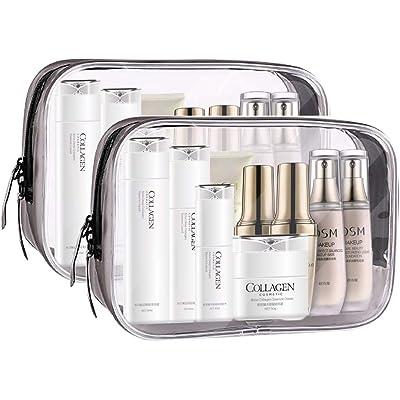Meowoo Bolsas de Aseo Transparente TSA Aprobado Mujer Viaje Cosmeticos Neceseres Toiletry Bag, Portátil y Impermeable, Material de PVC(2pcs Transparente)