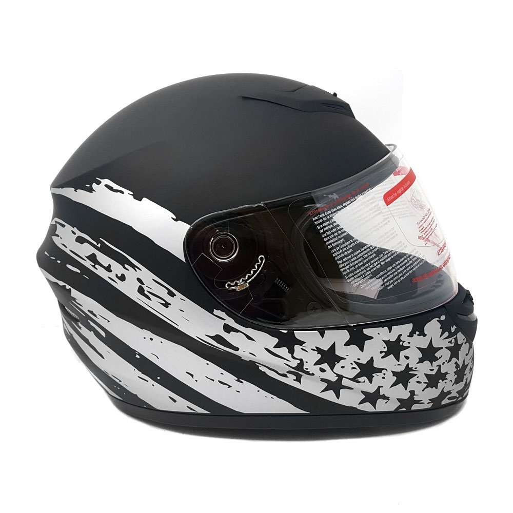 Medium Motorcycle Full Face Helmet DOT Street Legal +2 Visors Clear Shield and Free Smoked Shield - Flag Patriot MATTE BLACK