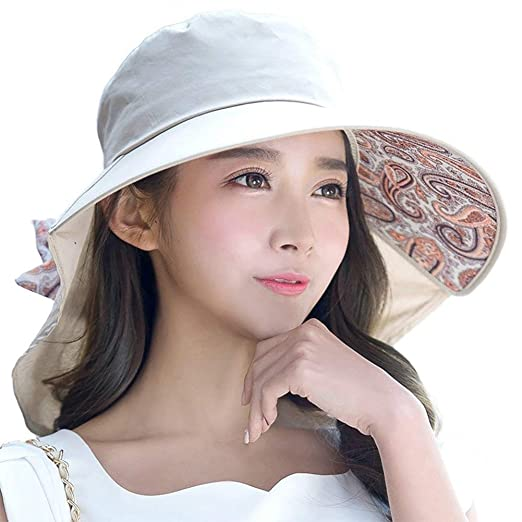 54e362f32ea Siggi Womens Wide Brim Summer Sun Flap Cap Hat Neck Cover Cord Cotton UPF  50+