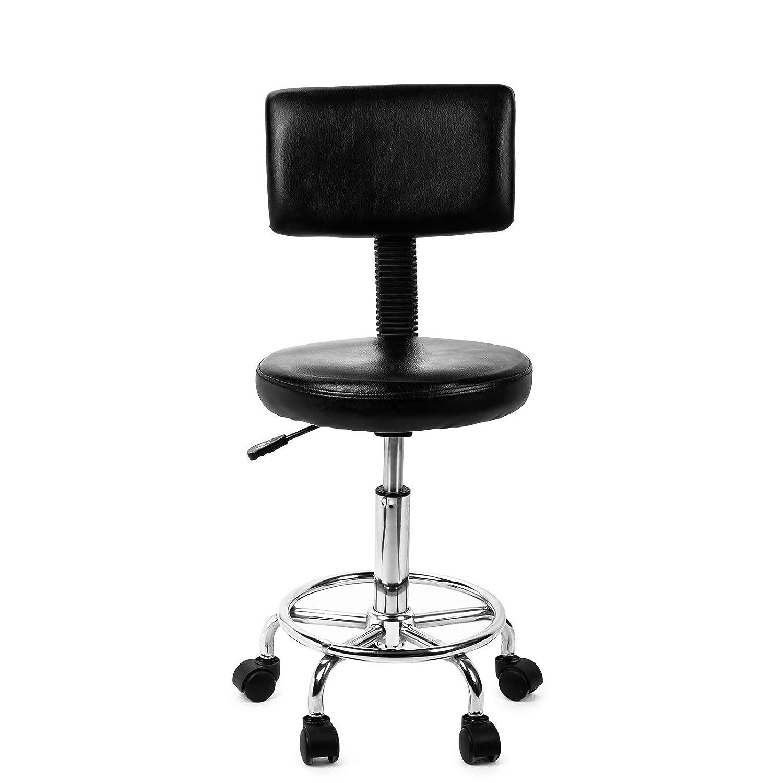 FOBUY Chaise de Massage de Salon hydraulique dascenseur de gaz hydraulique de Pivot Rond avec Le Dossier 5 Roues pour Le Tatouage Spa Taille r/églable Noir