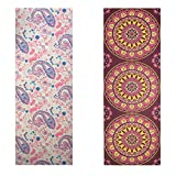 Vritraz Printed, Extra Thick 6mm, 72x24 inch Long, Premium Eco Safe, Non Slip Yoga Mat + Free Carry Bag PinkPattern-Round (Pack of 2)