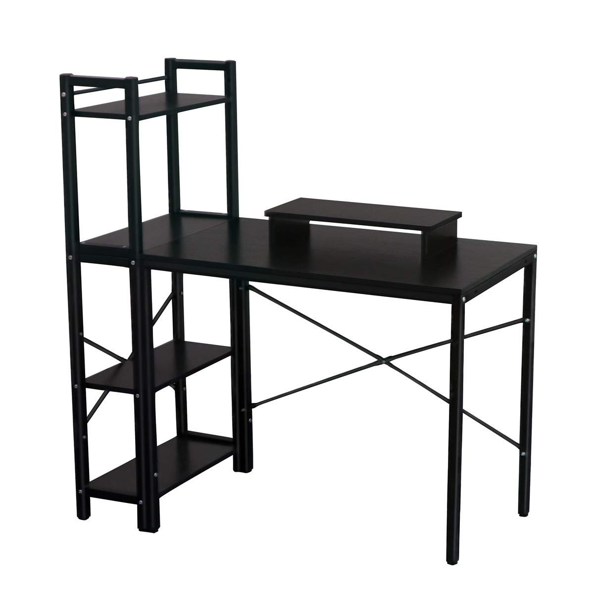Computer Desk, LASUAVY Computer Desk with Shelves, Multipurpose Study Desk with Bookshelf, Writing Desk with 4 Tier Bookcase for Home Office (Black Computer Desk with Shelves)