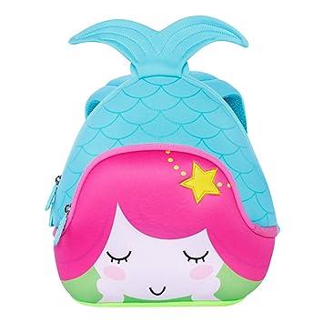 4f3a325db09 BINGONE Kids 3D Mermaid Backpack Children School Travel Bags Waterproof Blue