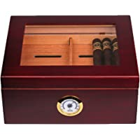 Mantello 25-50 Cigar Desktop Humidor Humidifier Glasstop w/ Tray