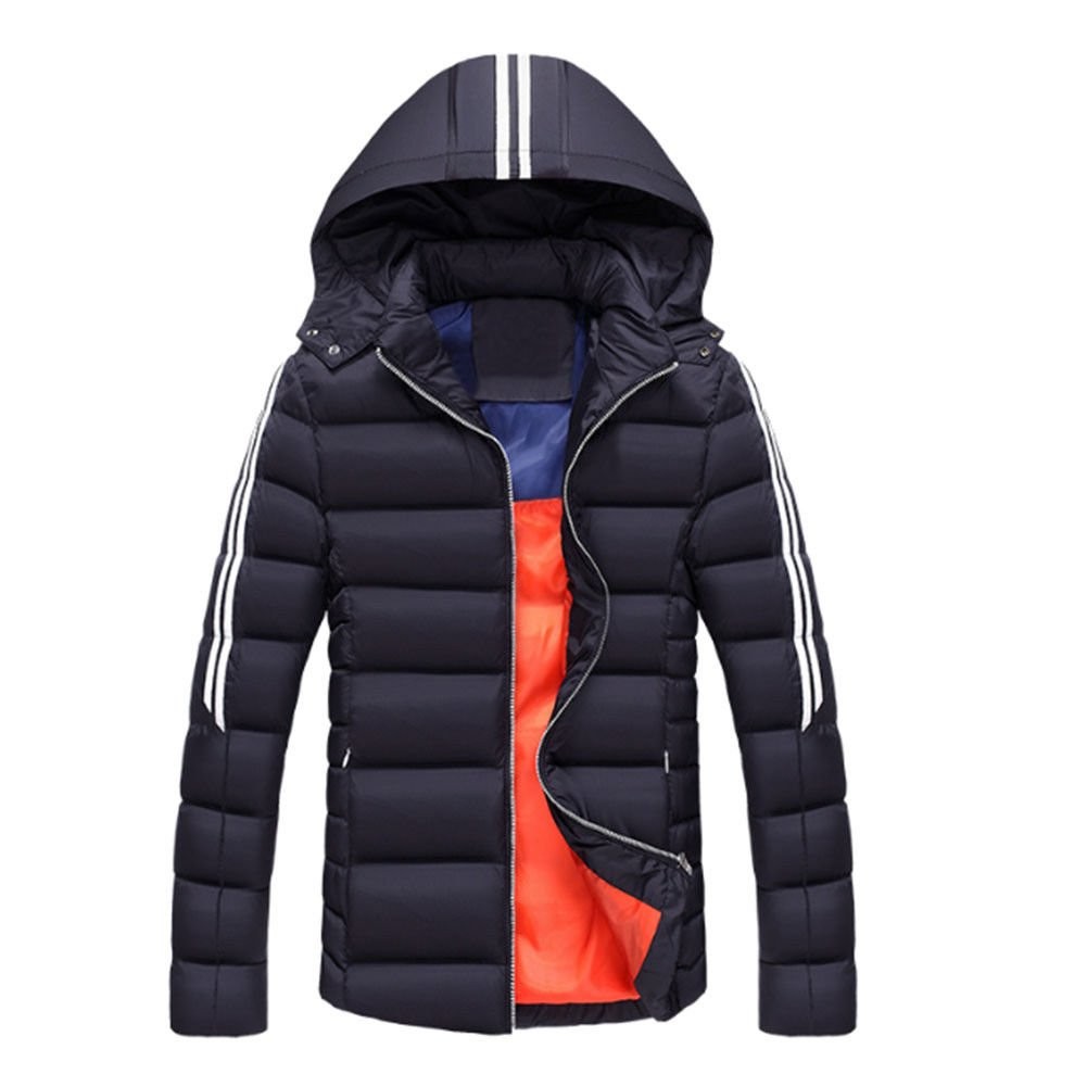 Meijunter Men Thicker Cotton Hooded Down Jacket Coat Breathable Outwear Warm Slim Parka