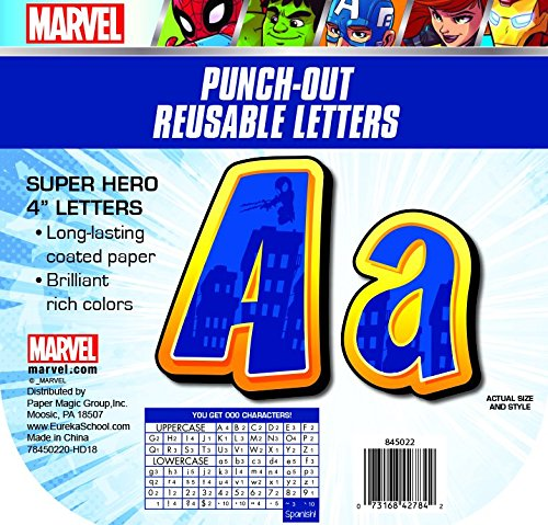 Eureka Marvel Avengers Large Deco Letters Classroom Decorations for Teachers, 200 PC, 4'' H -