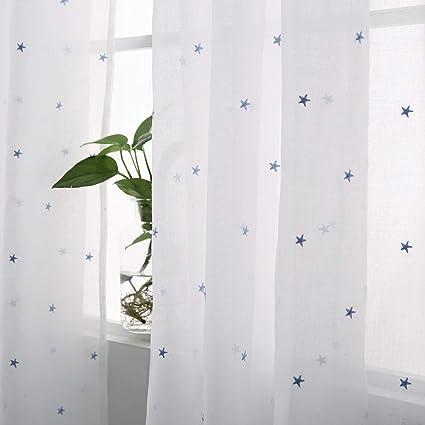 Deconovo Rideau Chambre Bebe en Voile Transparent à Oeillets Broderie  Étoile Bleu Décoration Chambre Enfant 140x240cm