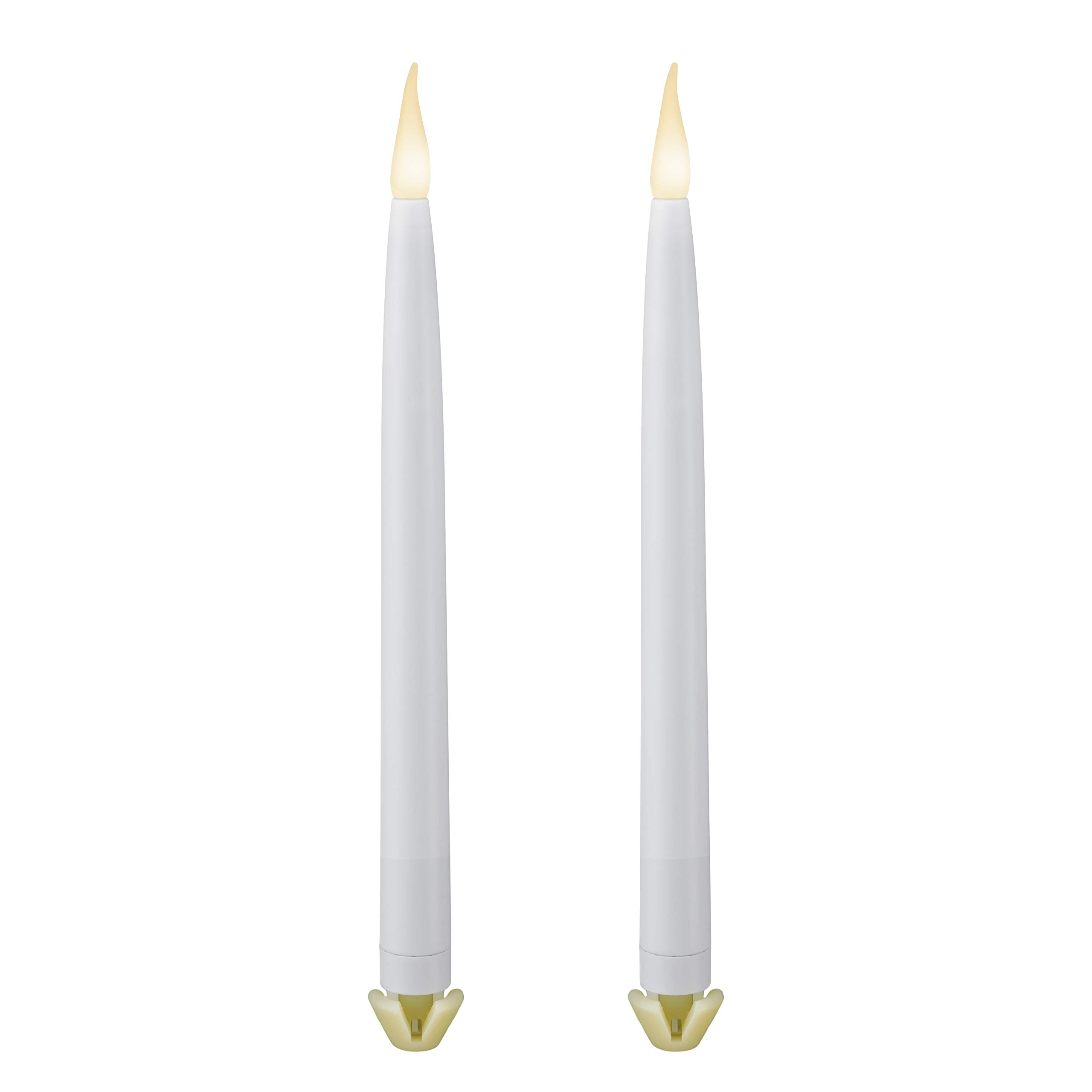 612 Vermont 11 3/4'' LED Taper Candles Battery Operated with Gripper Base, Timer, Patented Warm White Dual LED Flicker Flame (Pack of 2) by 612 Vermont