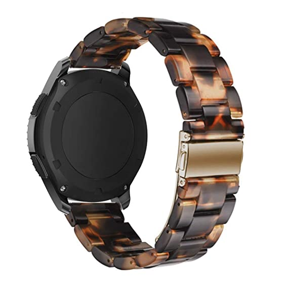 Omter Resin Band Compatible with Huawei Watch 2 Classic,Ticwatch Pro/S2/E2,Amazfit Stratos Band, 22mm Women Men Fashion Bracelet Strap (Tortoise-Tone)
