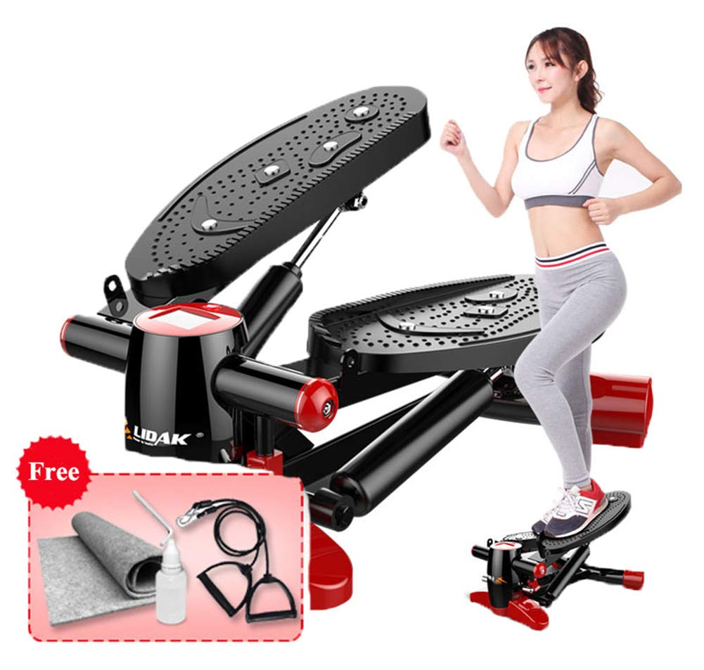 Air Climber Aerobic Fitness Step Stair Stepper mit Accessory Cord Ground Mat LCD Monitor Magnetic Massage Pedal Dark ROT