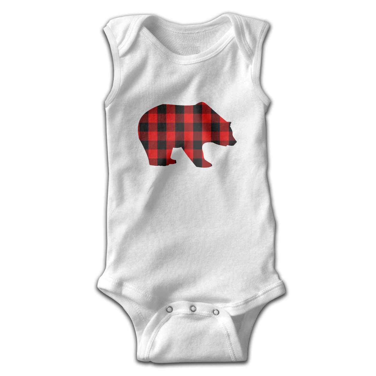 Red Buffalo Plaid Bear Newborn Crawling Suit Sleeveless Romper Bodysuit Onesies Jumpsuit Black