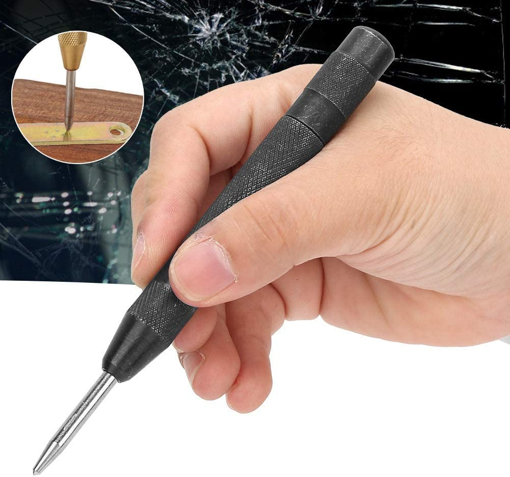 Black Tarente 5 inch HSS High Hardness Spring Automatic Center Punch Tool for Wood Metal Drill Hole