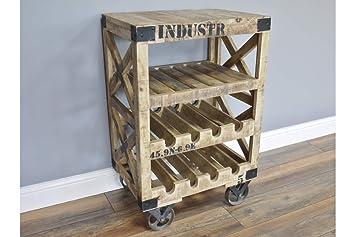 Carro de almacenamiento de vino de estilo industrial vintage con ruedas de madera, barra para bebidas 4 Tiers Wine Rack Trolley: Amazon.es: Hogar