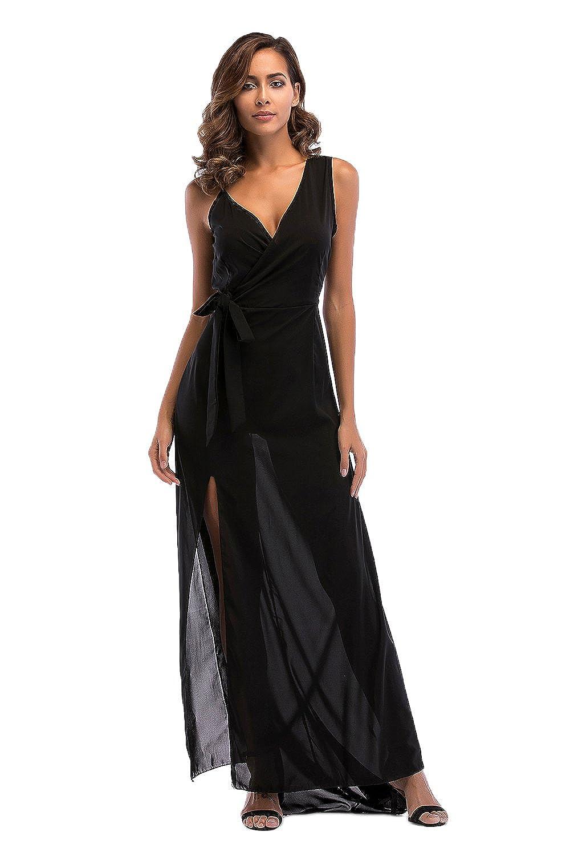 Babyonlinedress Sommerkleider Damen Lang Chiffon Kleider Abendkleid V-Ausschnitt Elegant S-XL