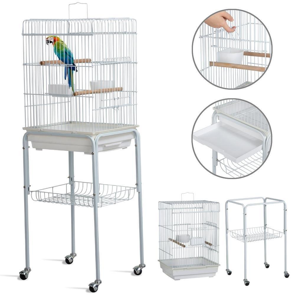 Yaheetech 46.5'' Metal Rolling Bird Cage Parrot Finch Aviary Pet Perch w/3 Front Door/Storage Shelf/Bottom Tray,White