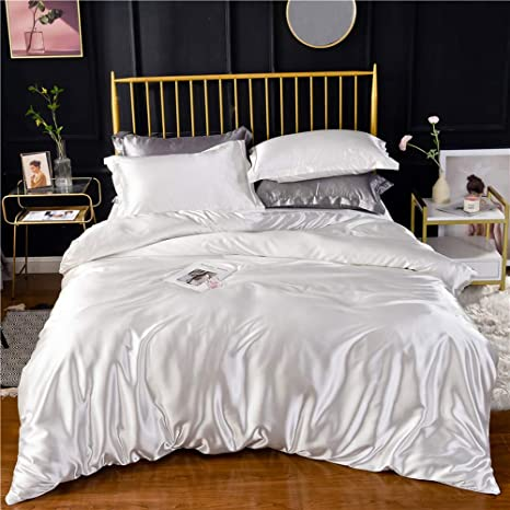 White Ivory Luxury Silk Bedding Set Include Silk Duvet Cover Silk Pillow Sham And Silk Fitted Sheet Satin Silk Silk Blend Fabric No Comforter Or Duvet Insert Included Twin Size Home