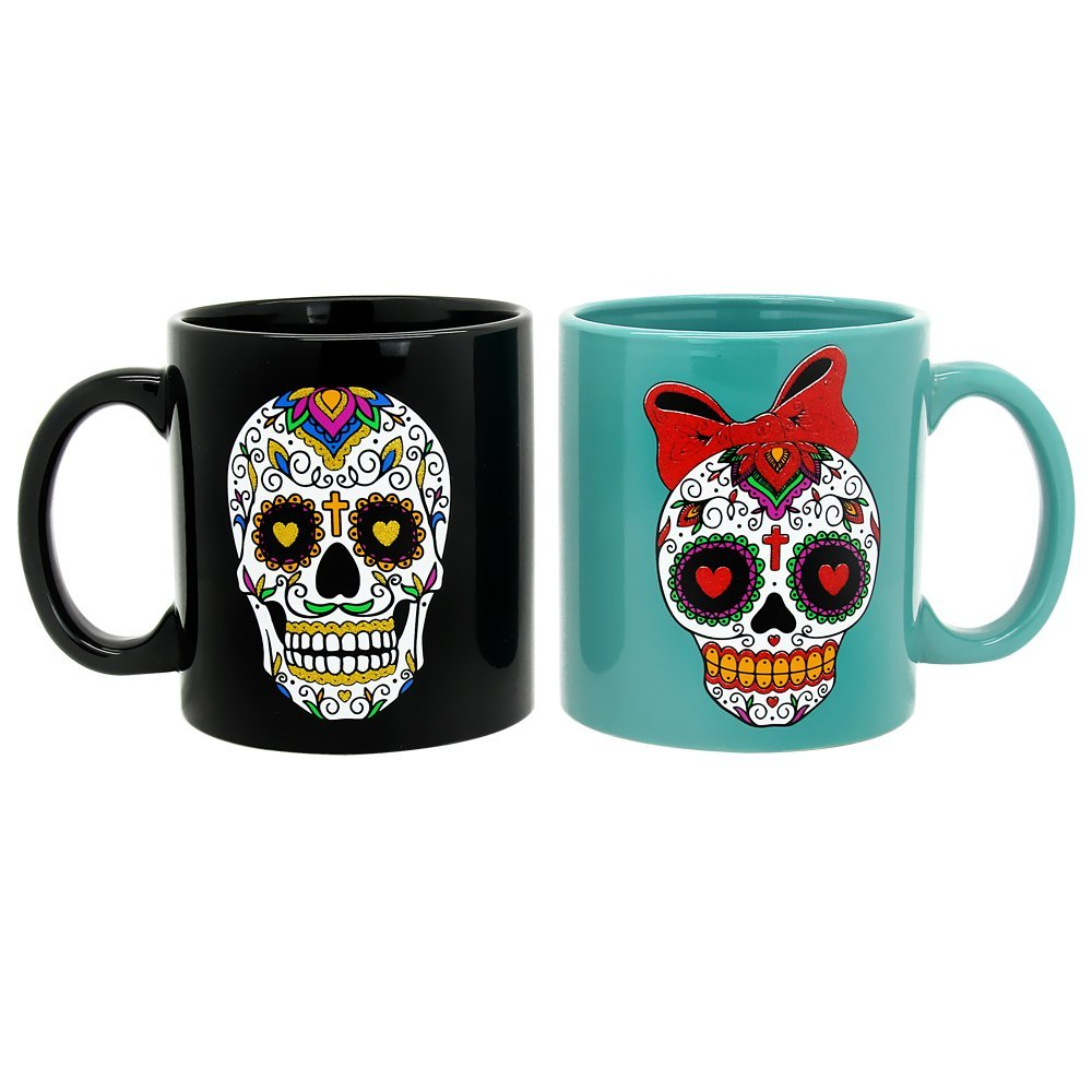 his and hers candy skull coffee mug set of 2 my sugar