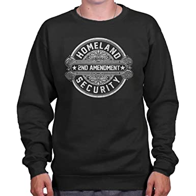 Brisco Brands Homeland Security American 2nd Amendment Crewneck Sweatshirt  Black acda1dc2d