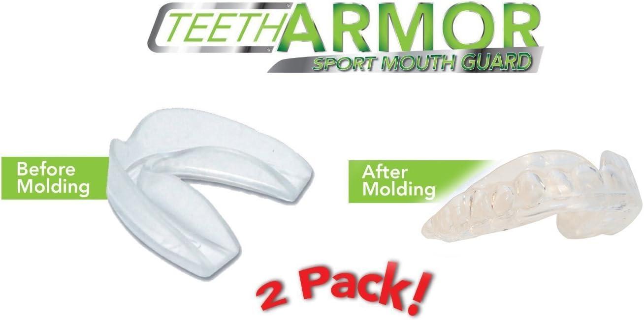 Teeth Armor Protège-Bouches Sport Professionnel - Paquet de 2 - Sans Bpa - Couleur claire et sûre - Sans additif de couleur - Protprotège-dents pour les dents athlétiques - Ajustement de toute taille de bouche - Ajustement personnalisé