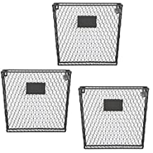 Set of 3 Wall Mounted Rustic Black Metal Wire Mail Sorter / Magazine Rack w/ Erasable Chalkboard Labels