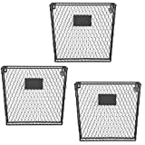 wall basket - Set of 3 Wall Mounted Rustic Black Metal Wire Mail Sorter / Magazine Rack w/ Erasable Chalkboard Labels