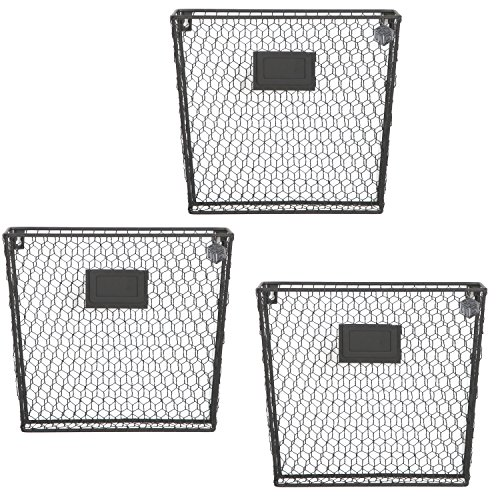 Set of 3 Wall Mounted Rustic Black Metal Wire Mail Sorter / Magazine Rack w/ Erasable Chalkboard Labels (Hanging Basket Wall)
