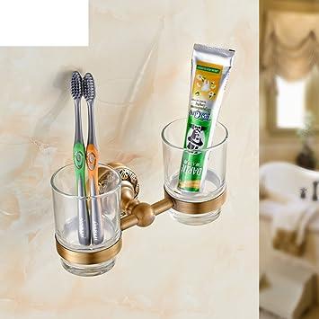 Todos los portavasos cobre antiguo gemelas/Conjunto de cepillo de dientes portavasos/estante de cristal: Amazon.es: Bricolaje y herramientas