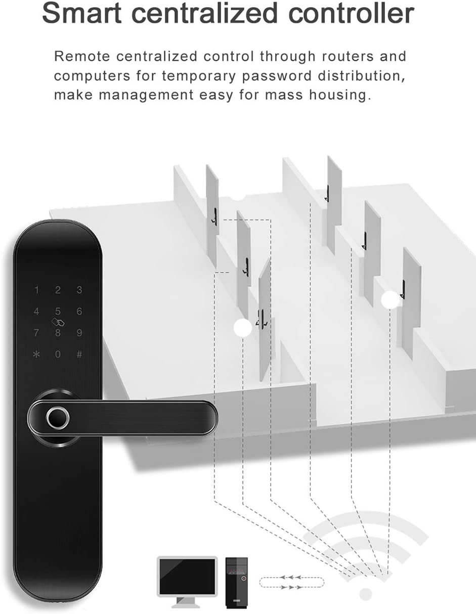 App Remotely and Office//Apartment Business Manage for Door Lock Fingerprint Keyless Entry Door Mortise Lock New 202Plus WiFi and Bluetooth Smart Lock Handle Free Reversible