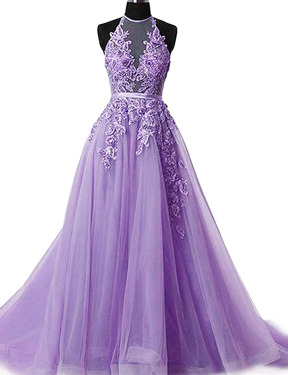Lavender Liaoye Women's Halter Lace Prom Dresses Long Formal Party Gown 2019 Backless Evening Dress for Weddings
