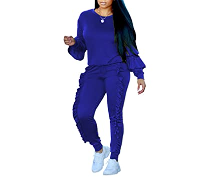 22a049f47b2 Amazon.com  Missrooney Plus Size Two Piece Ruffles Jumpsuits Women Rompers  Long Sleeve Winter Women Spring Outfits Casual Party Overalls  Clothing