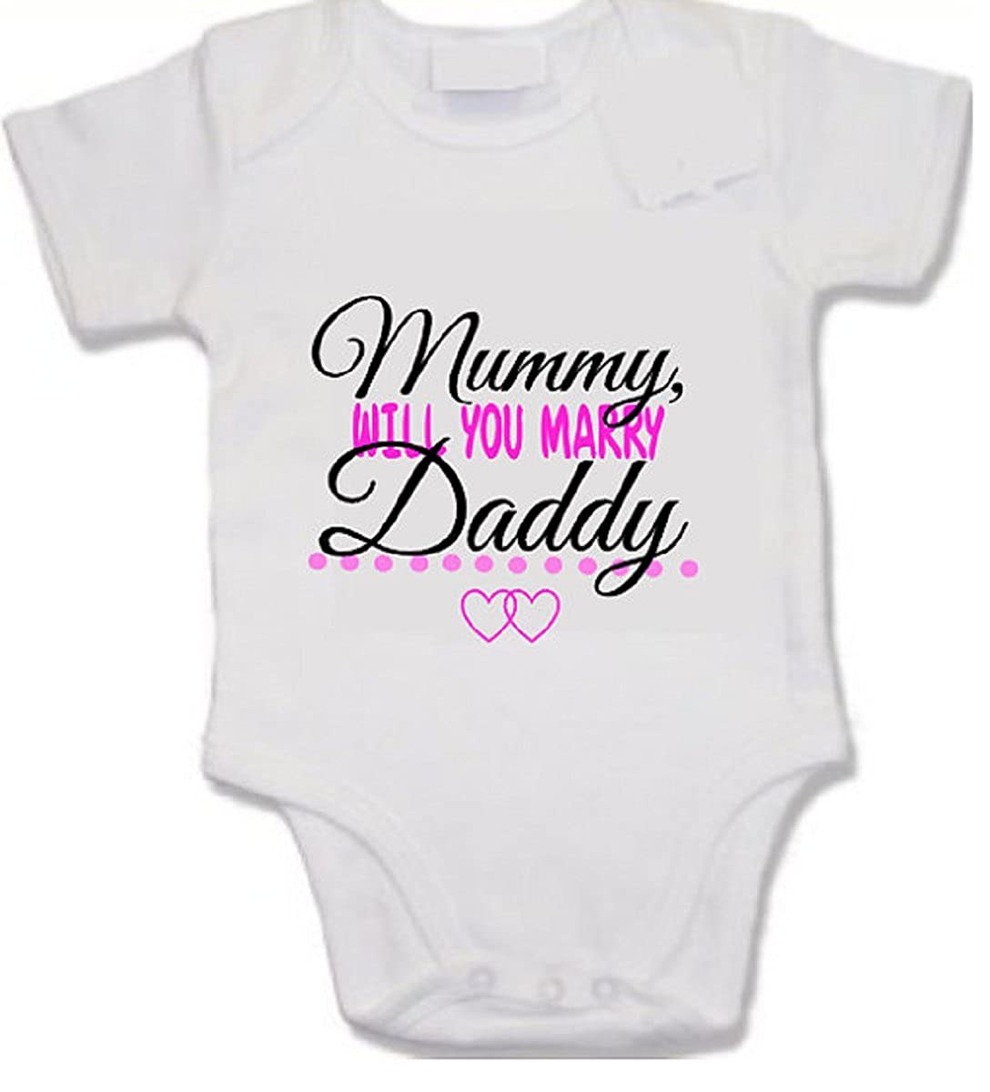 pretty little customs Mummy Will You Marry Daddy? Proposal Print Baby Vest Valentine's Day First Valentine Cute Daddy's Girl