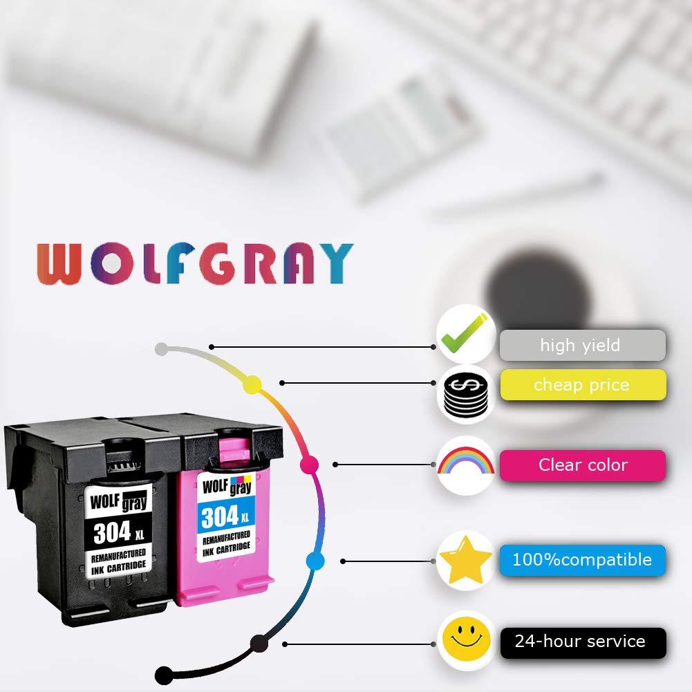 Wolfgray 304XL Remanufacturado para HP 304 XL 304 Cartuchos de tinta (1 Negro, 1 Tricolor) para HP Deskjet 3720 3730 3732 3700 3735 3733 2620 2630 ...