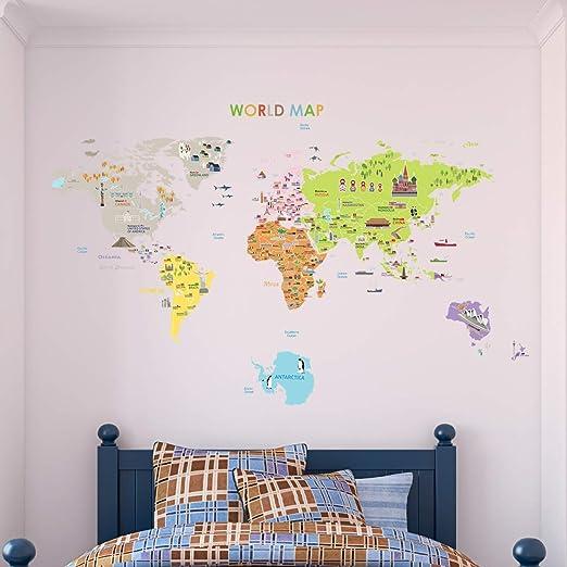 Ambiance-Live - Mapa Gigante de Sticker Autoadhesivo Mural para niños, con Unas Dimensiones de 120 x 150 cm.: Amazon.es: Hogar