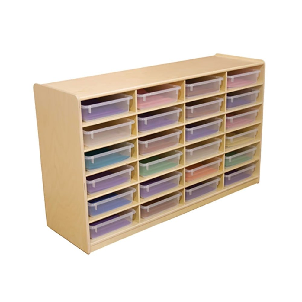 Wood Designs WD17461 (24) 3'' Letter Tray Storage Unit with Translucent Trays, 30 x 48 x 15'' (H x W x D)