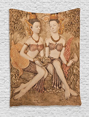 Ambesonne Sculptures Decor Collection, Native Thai Style Molding Art Asian Traditional Attire Temple Culture Image, Bedroom Living Room Dorm Wall Hanging Tapestry, Bright Gold by Ambesonne