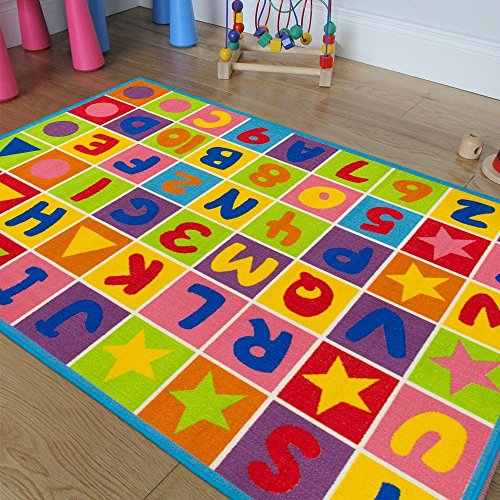 Kids / Baby Room / Daycare / Classroom / Playroom Area Rug Letters Numbers Fun Educational Shapes Non-Slip Back Bright Colorful Vibrant Colors (8 Feet X 10 -