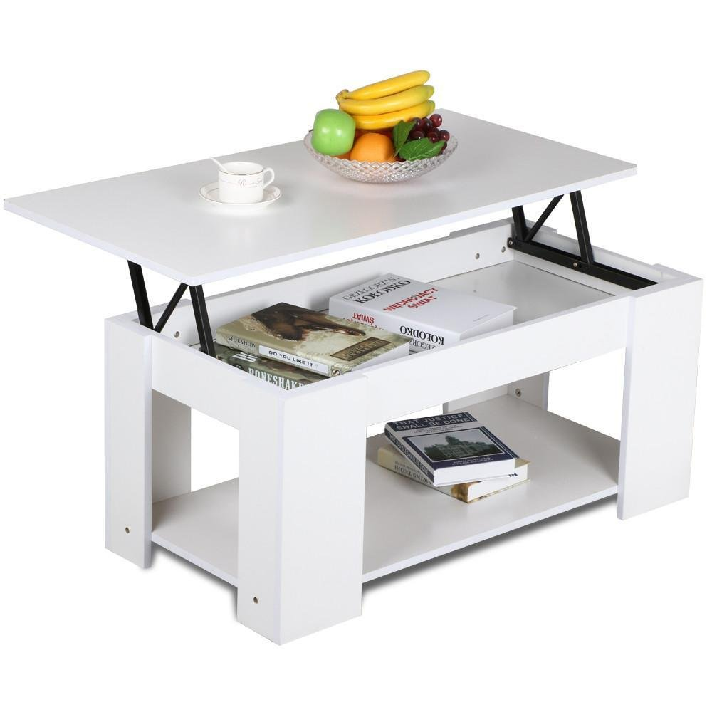 Lift Top Coffee Table Wood Storage Cocktail White Pop Up