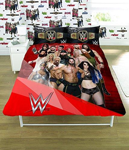 WWE 2K17 Face Vs Heel Single/Double Duvet Cover Bed Set - Reversible Panel Designs (Double Duvet Cover) by WWE