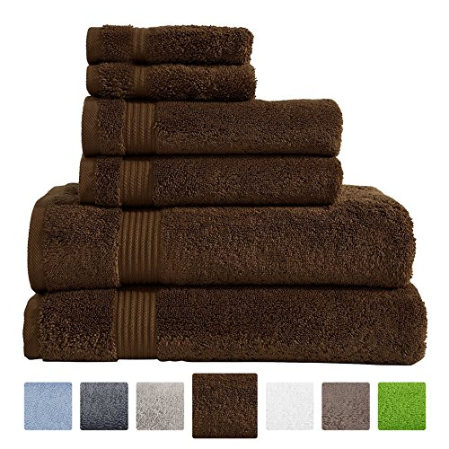 Hotel & Spa Quality Super Absorbent and Soft, 100% Genuine Cotton, 6 Piece Turkish Towel Set for Kitchen and Decorative Bathroom Sets Includes 2 Bath Towels 2 Hand Towels 2 Washcloths, Chocolate Brown