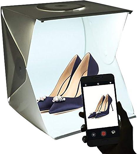 Estudio de Fotografía Mini portátil Gleading 40x40x40cm Carpa Luminosa Lightroom con luz LED. Kit de Caja de luz: Carpa Plegable + Dos Fondos (Blanco y Negro): Amazon.es: Electrónica