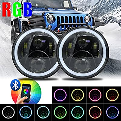 "7"" LED Headlights Bulb RGB Halo Angel Eye with Bluetooth Remote for 1997~2017 Jeep Wrangler JK LJ CJ Sahara Sport Rubicon Hummer H1 H2 Headlamp Driving Light DRL"
