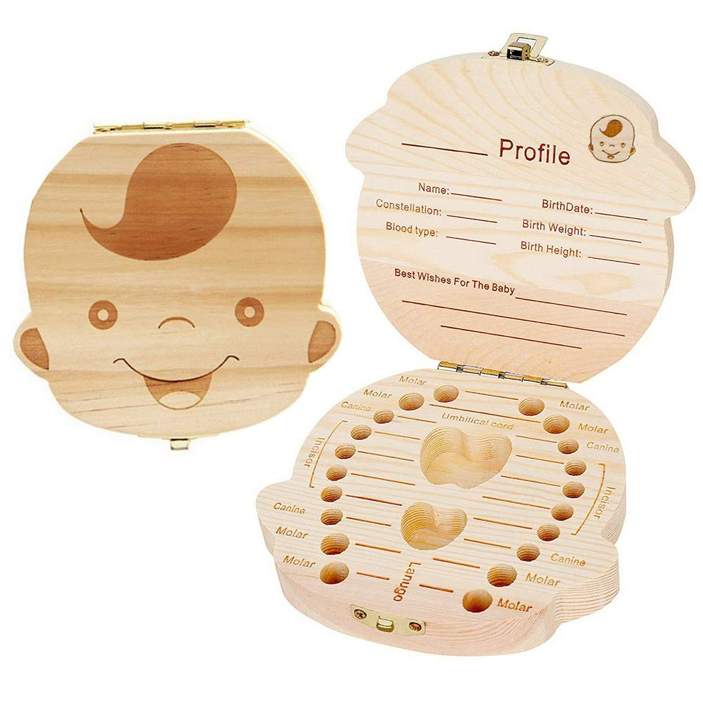 Baby boy girl memory tooth box,Malloom wooden cartoon pattern baby save organizer milk tooth wood storage souvenir box Boys