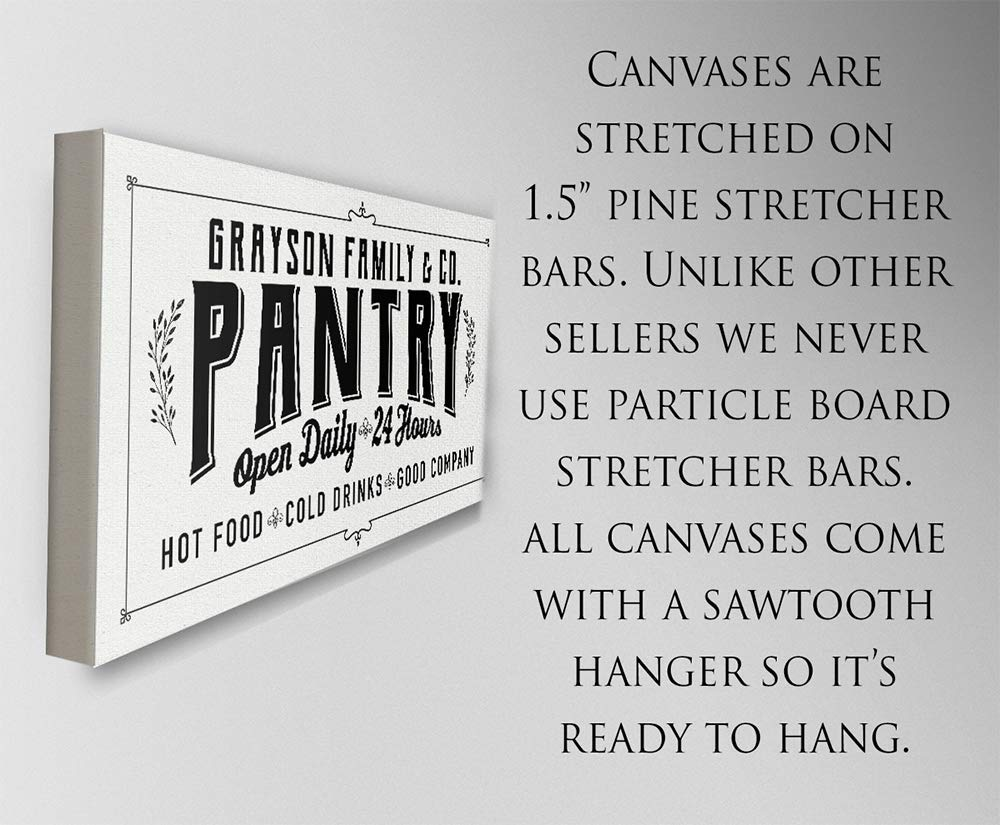 Pantry Makes a Great Housewarming and Wedding Gift Under $50 Large Black and White Canvas Wall Art Perfect Kitchen and Dining Room Decor Stretched on a Heavy Wood Frame Personalized