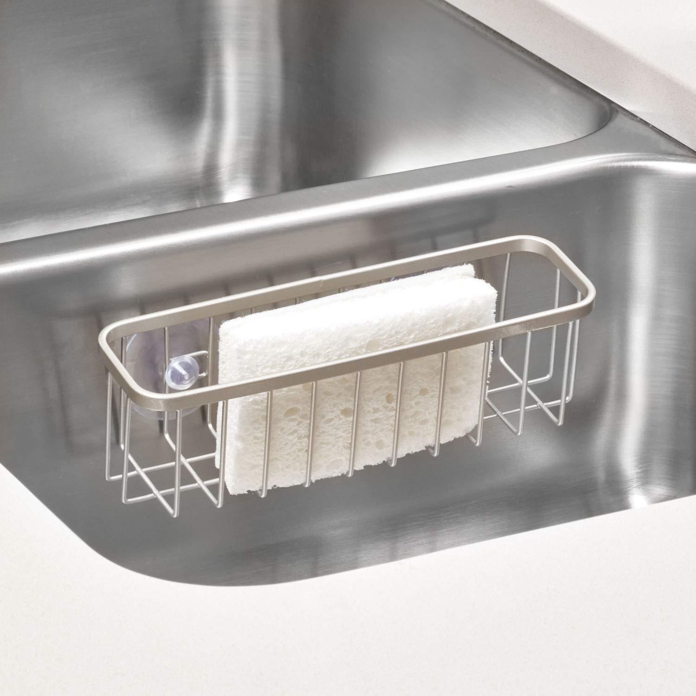 plateado mate repisa de cocina extragrande de metal con recubrimiento inoxidable para esponjas y estropajos InterDesign Gia Estropajero